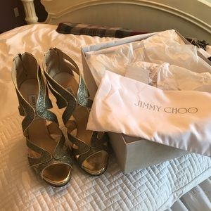 Size 40 gold Jimmy Choo-Never Worn